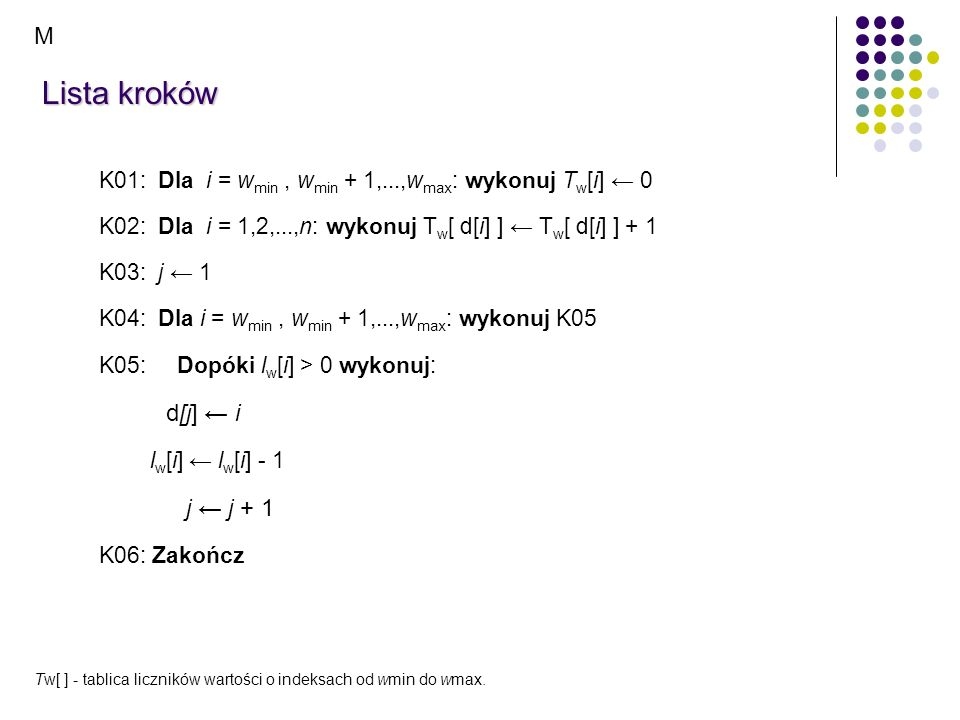 Lista kroków M d[j] ← i j ← j + 1
